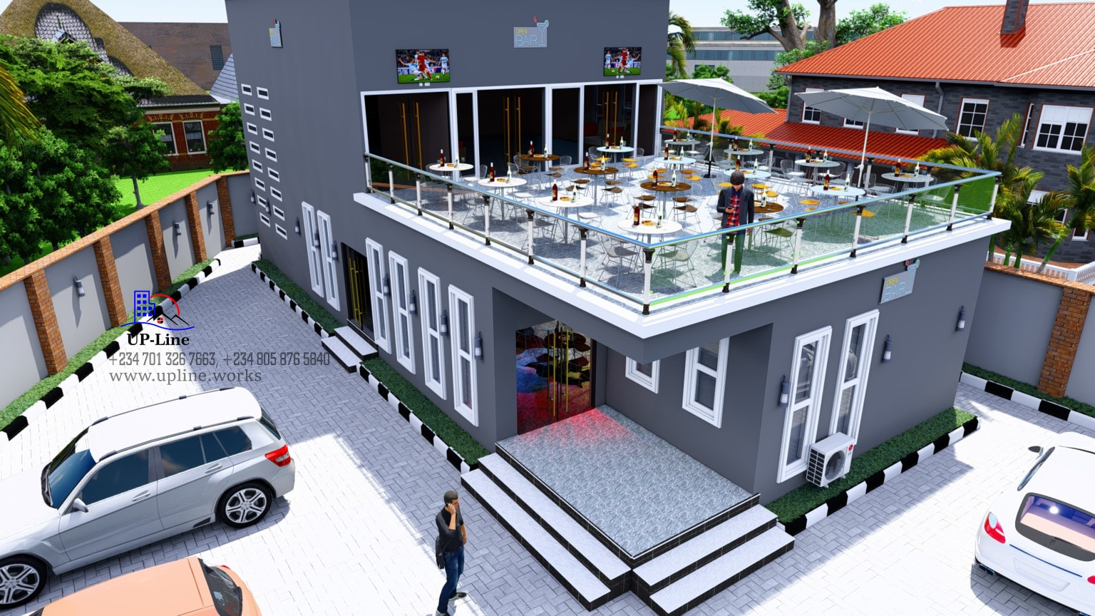 Aerial view of bar and club design by Upline works - Top architectural company in Nigeria